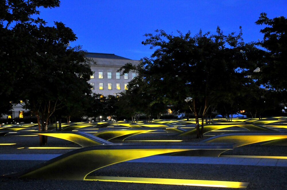 The Pentagon Memorial was created to remember and honor those lost at the Pentagon Sept. 11, 2001.  Photo By: Coast Guard Petty Officer 2nd Class Patrick Kelley