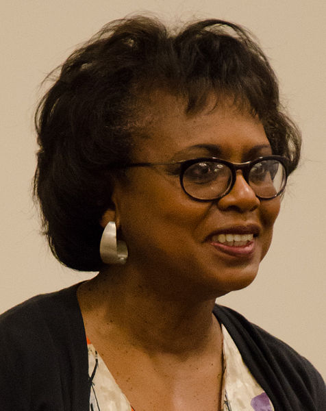 Professor Anita Hill at a panel discussion following a screening of the documentary Anita, held at Harvard Law School on September 24, 2014. Photo by  Twp .