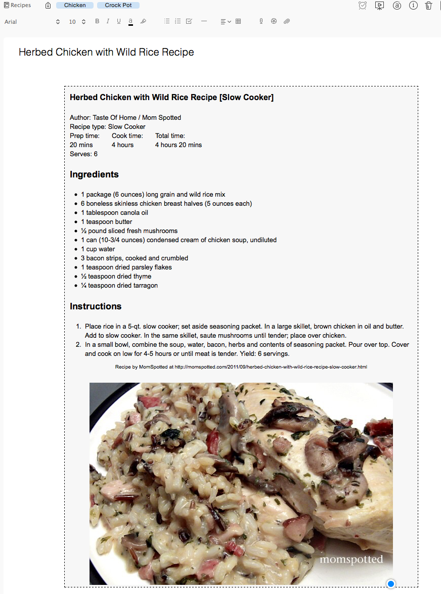 This recipe is one where the blogger had a printable version on her site. It's also really yummy! If you want to check out her original post, here's a link to  Herb chicken with wild rice (slow cooker)  over at momspotted.com.
