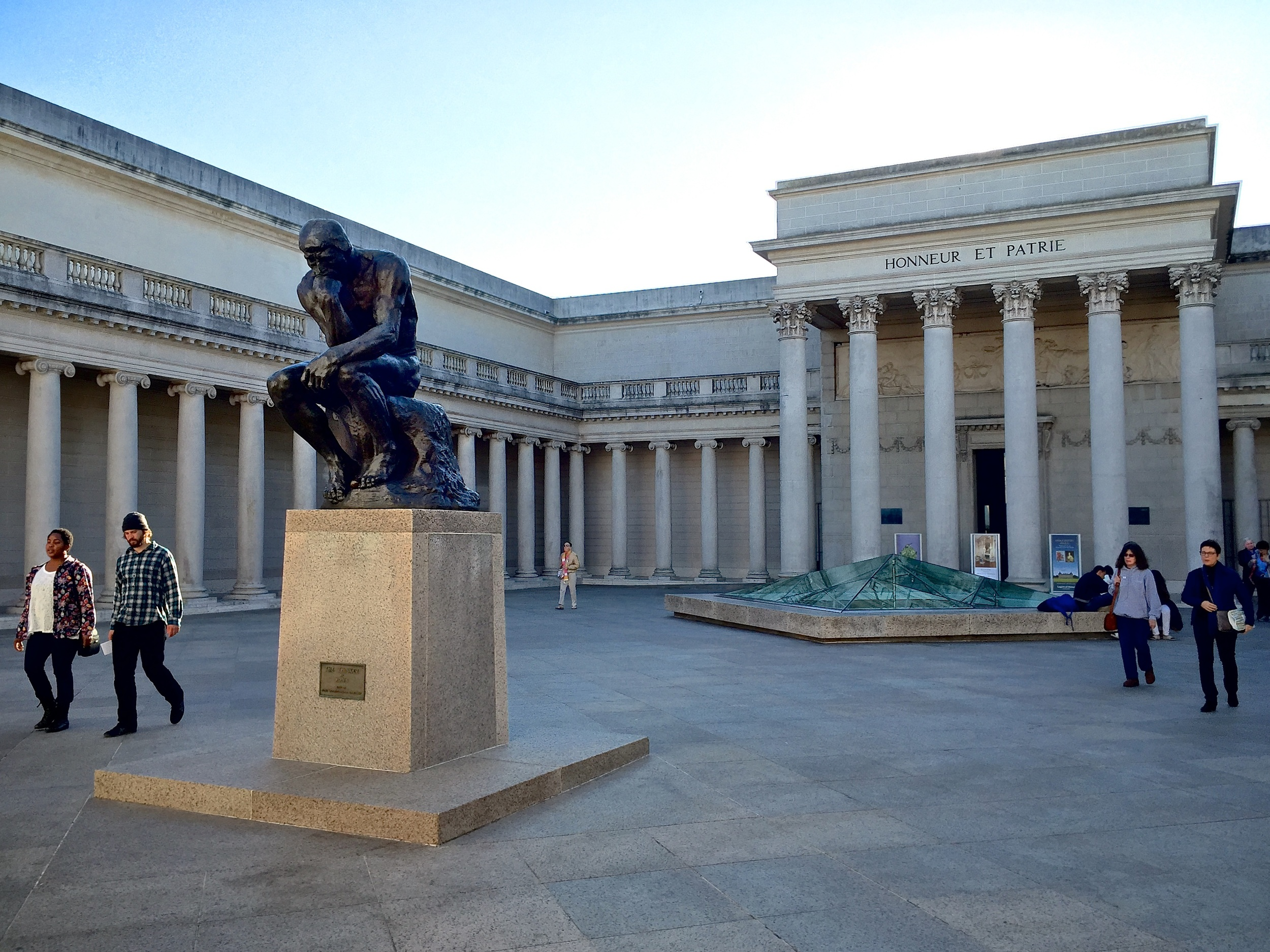 Rodin's  The Thinker  sits prominently in the Court of Honor outside of the Legion of Honor.