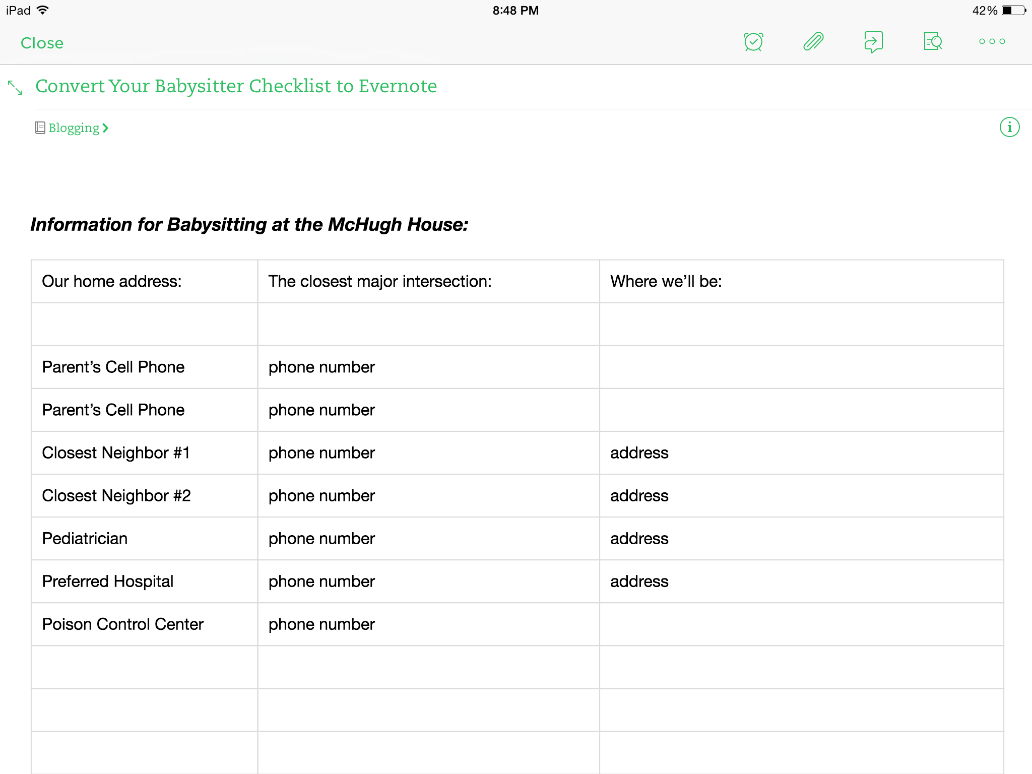 Convert Your Babysitter Checklist into Evernote ~ www.CompulsivelyQuirky.com