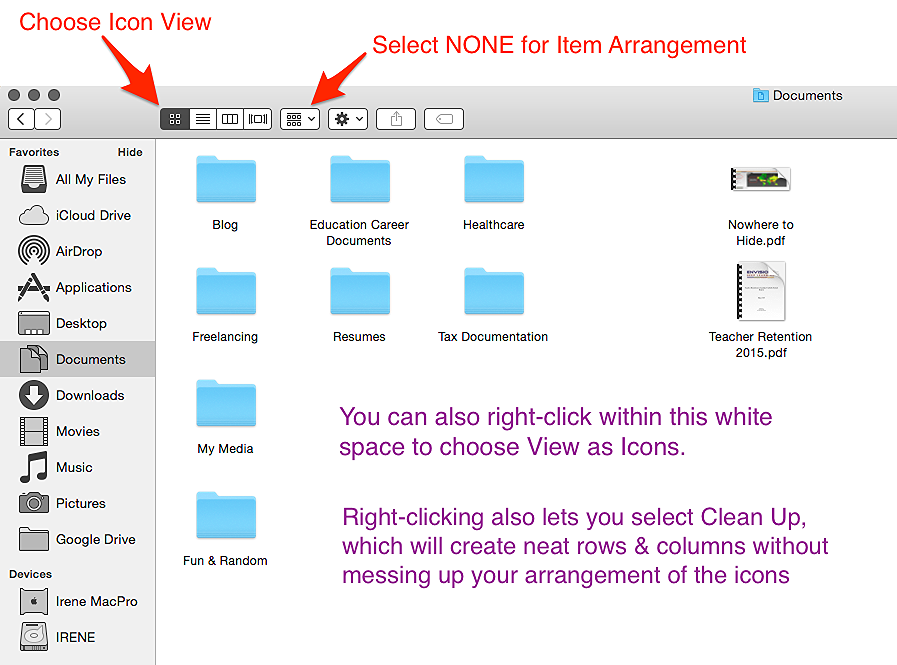 Organizing Documents by Icon View