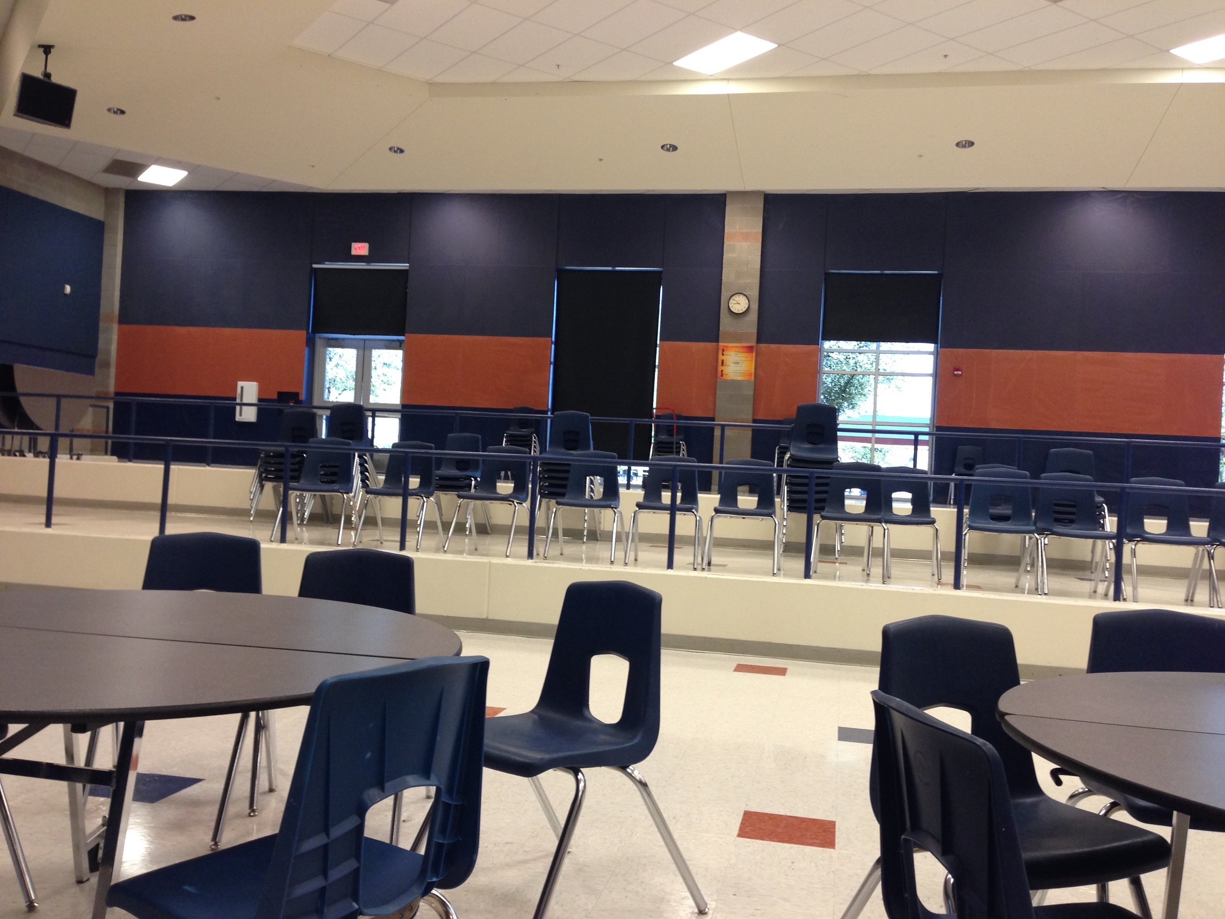 The cafeteria space at Cienega High School consists of these tiered levels. When we discussed finding the best cover, one administrator pointed out that if someone had to drop, they could use that tiered concrete to their advantage.