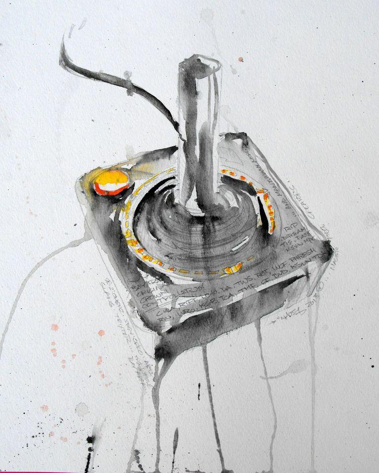 Atari Controller, Watercolor 2012