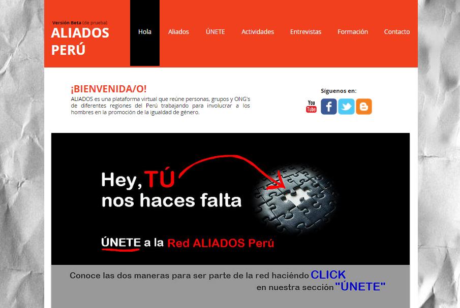 Imagen de la web en versión beta de Aliados (2013-2014)
