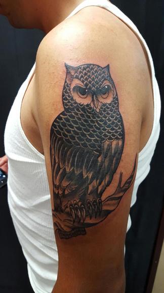Owl tattoo Beto Pineda