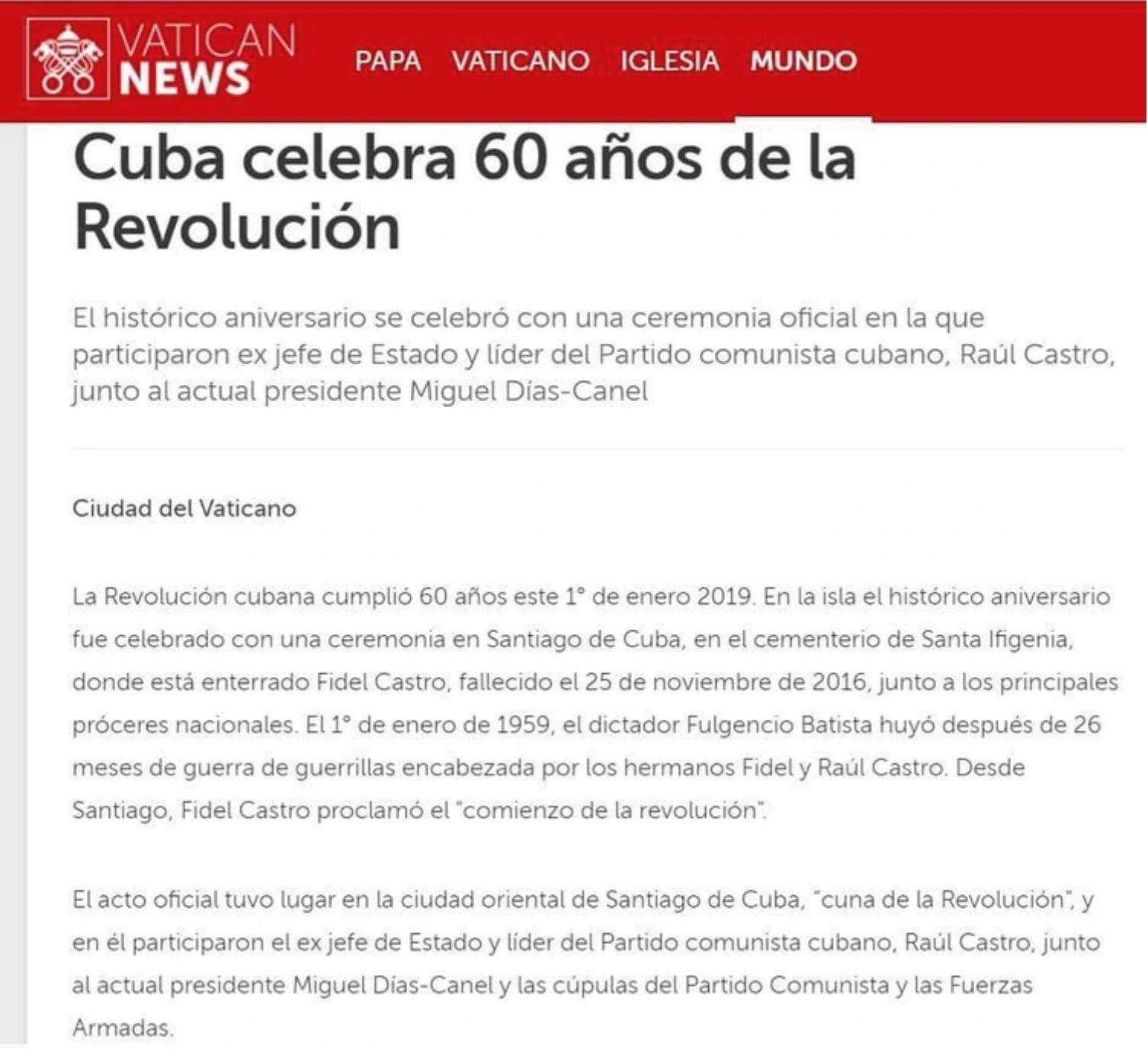 La nota de Vatican News sobre el aniversario de la revolución cubana.