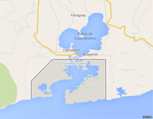 Mapa muestra ubicación de Caimanera y la Base Naval de EEUU.