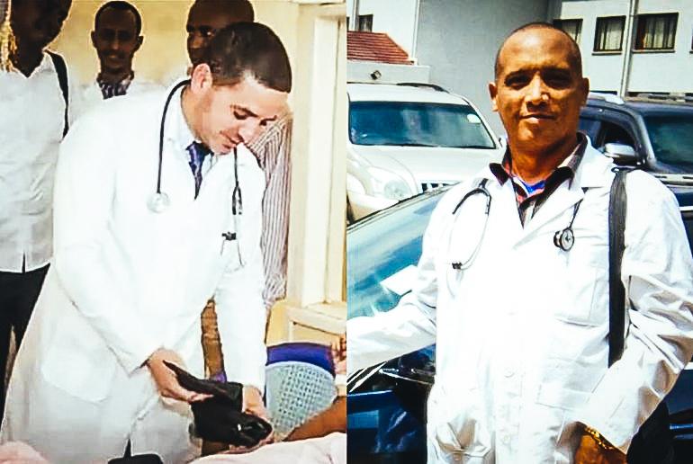 Fotografía publicada en medios de prensa cubanos de los doctores Landy Rodríguez (izq) y Assel Herrera, secuestrados en Kenia y llevados a Somalia por sus captores. FOTO- RADIO CADENA AGRAMONTE