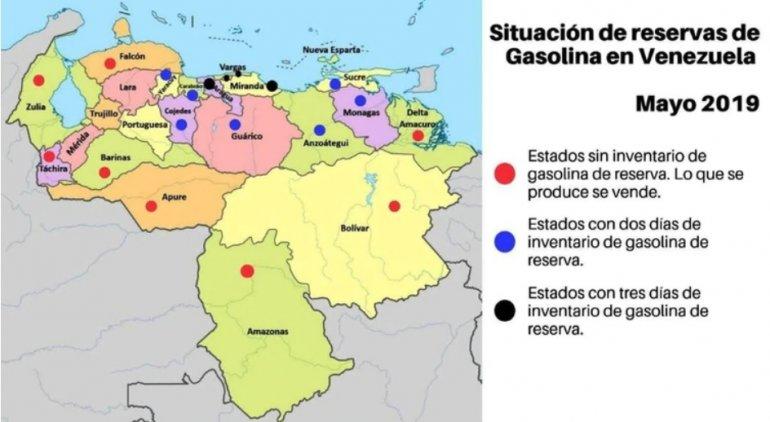 Al menos ocho estados venezolanos no tienen reservas de inventario de gasolina, según este mapa publicado por Infobae. CAPTURA DE PANTALLA / INFOBAE