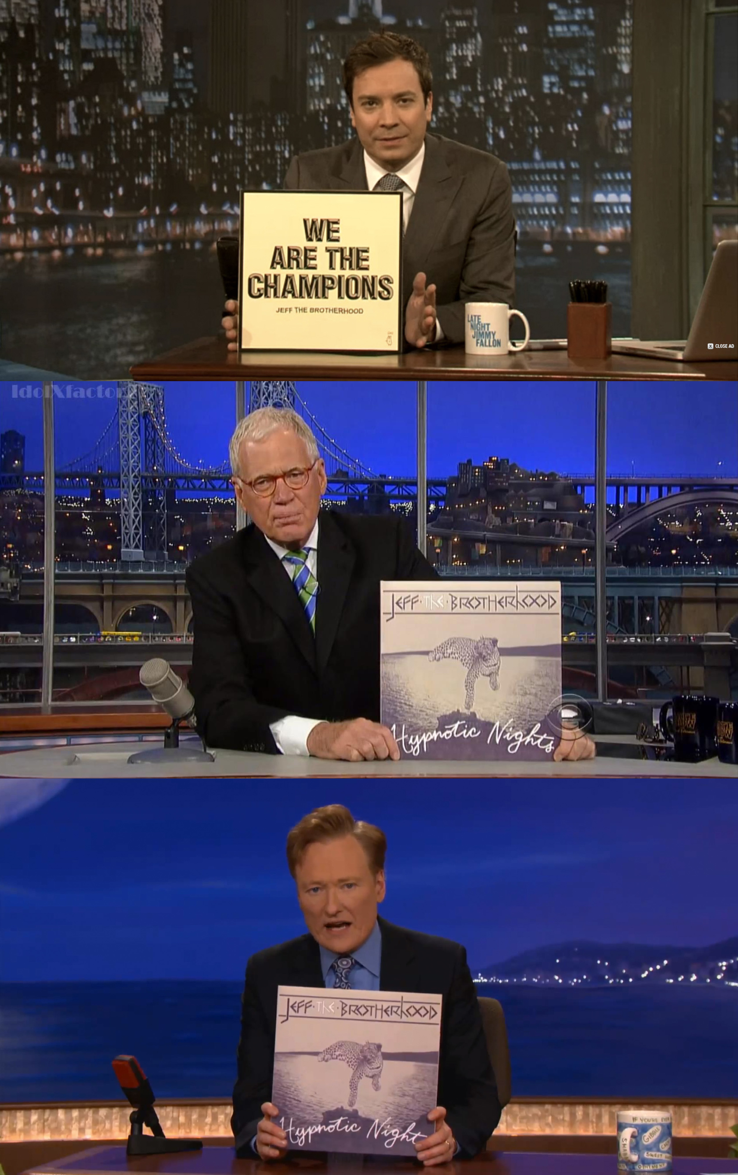 Album art for Jeff the Brotherhood being held up by late night talk show personalities.