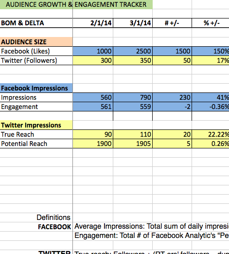 Audience growth & engagement tracker (auto-calculating xls)