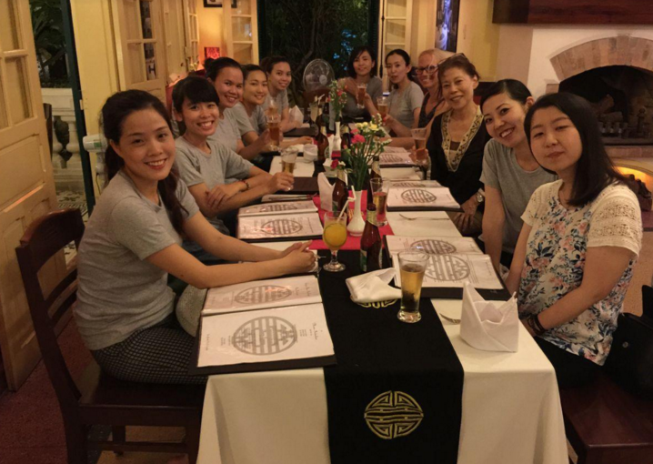 Dinner in a restaurant with the staff and volunteers in Phu Hiep