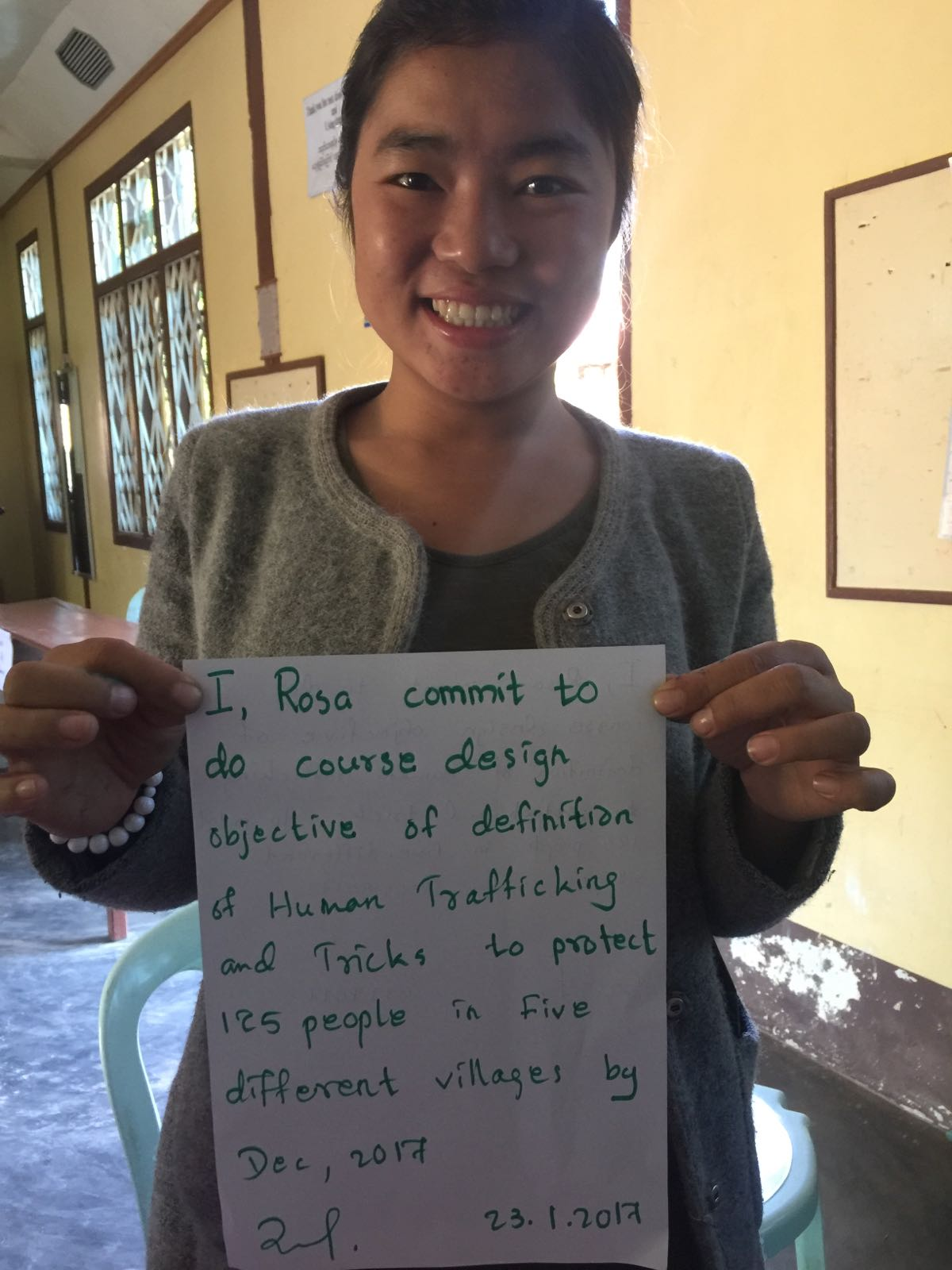 On day 7 after training 19 teachers trainees, 40 villagers and 40 children from orphanages, all 16 trainers made personal commitments to train others in different villages throughout the year.
