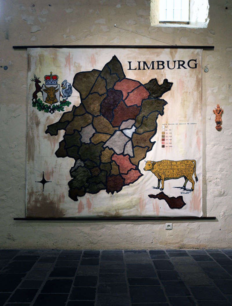 Map Limburg  2017 Wood, acrylic paint, cow skin, canvas.  200 x 200 cm © Tom Herck