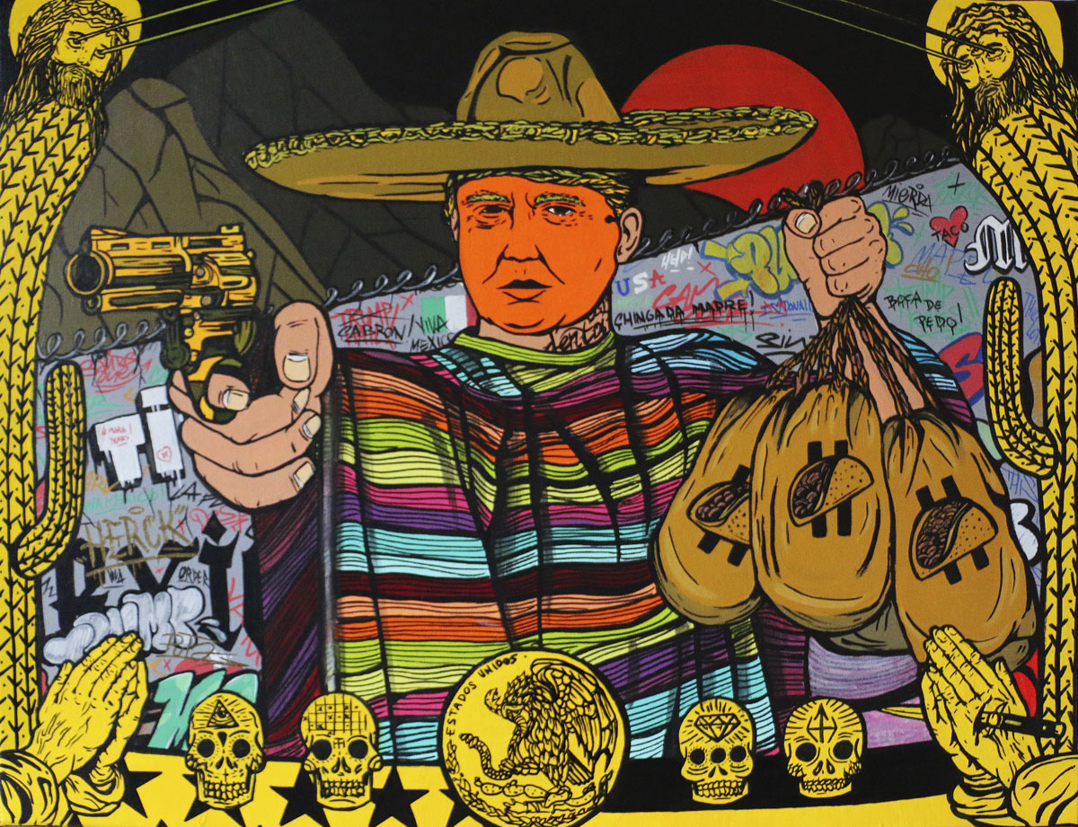 (Greetings from) Tijuana  2017 50 x 70 cm Acrylic on linen  © Tom Herck