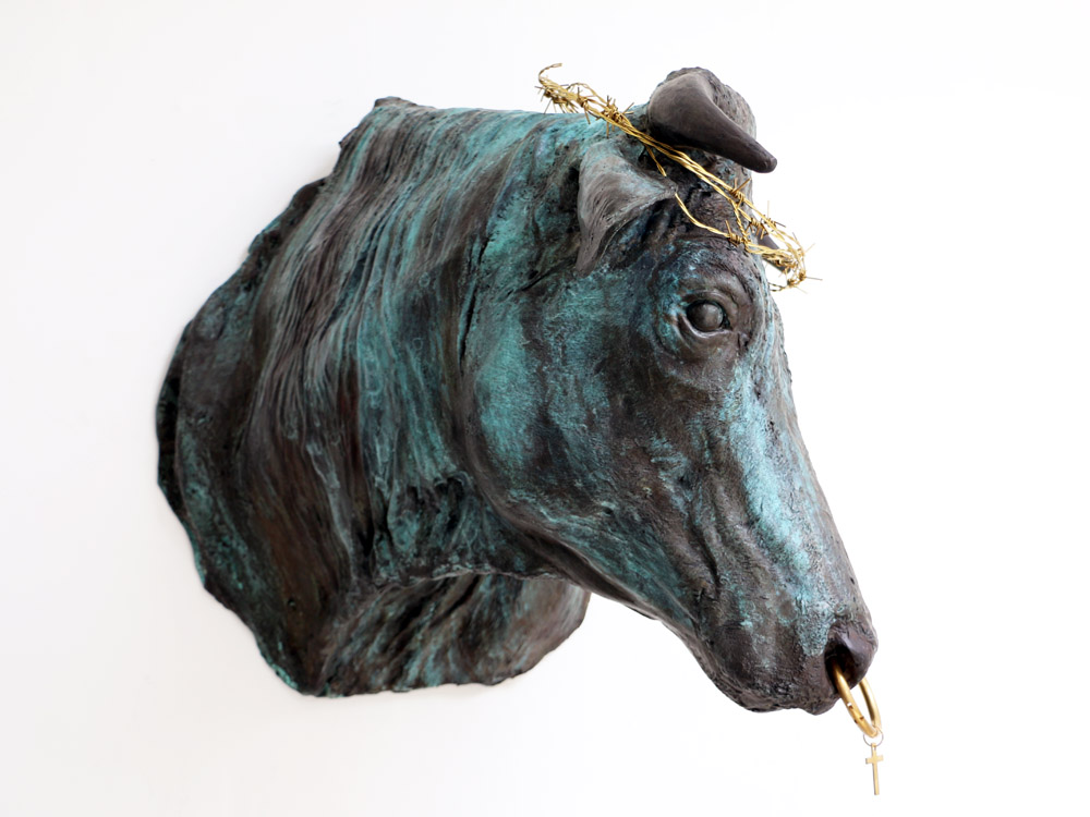 Holy cow head   2018 Bronze head and messing accessories.  Real size cow head © Tom Herck