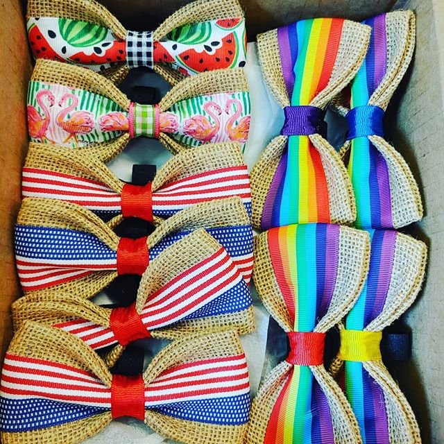 BOW TIES ARE HERE!!! They are soooo ADORABLE! Made by @petbowties purchased on @faire_wholesale  #handmade #madeinsc #madeinsouthcarolina #dogcollars #doggroomer #shoplocal  #supportsmallbusiness #doggroomersofinstagram #faire  #watermelon #pride🌈 #usa #flamingo