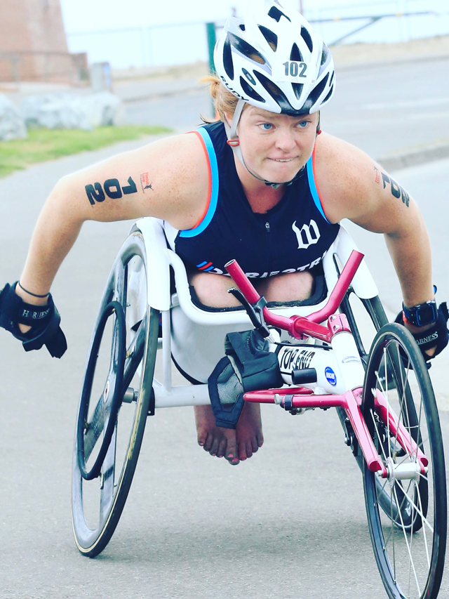 Dare2tri athlete Mary Kate Callahan in her racing chair.
