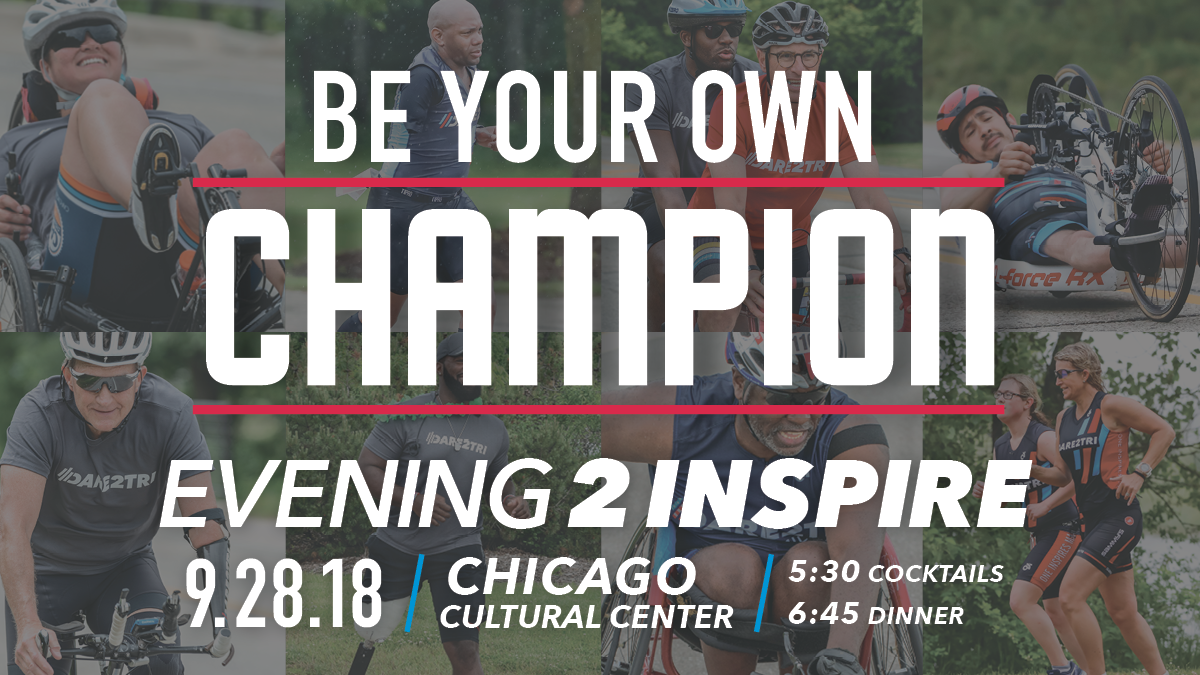 Dare2tri Evening2Inspire Save the Date. September 28, 2018 at Chicago Cultural Center.