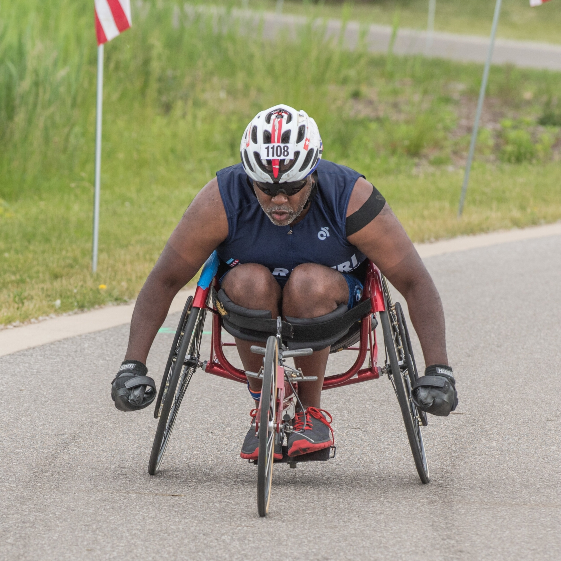 Athlete in racing chair.