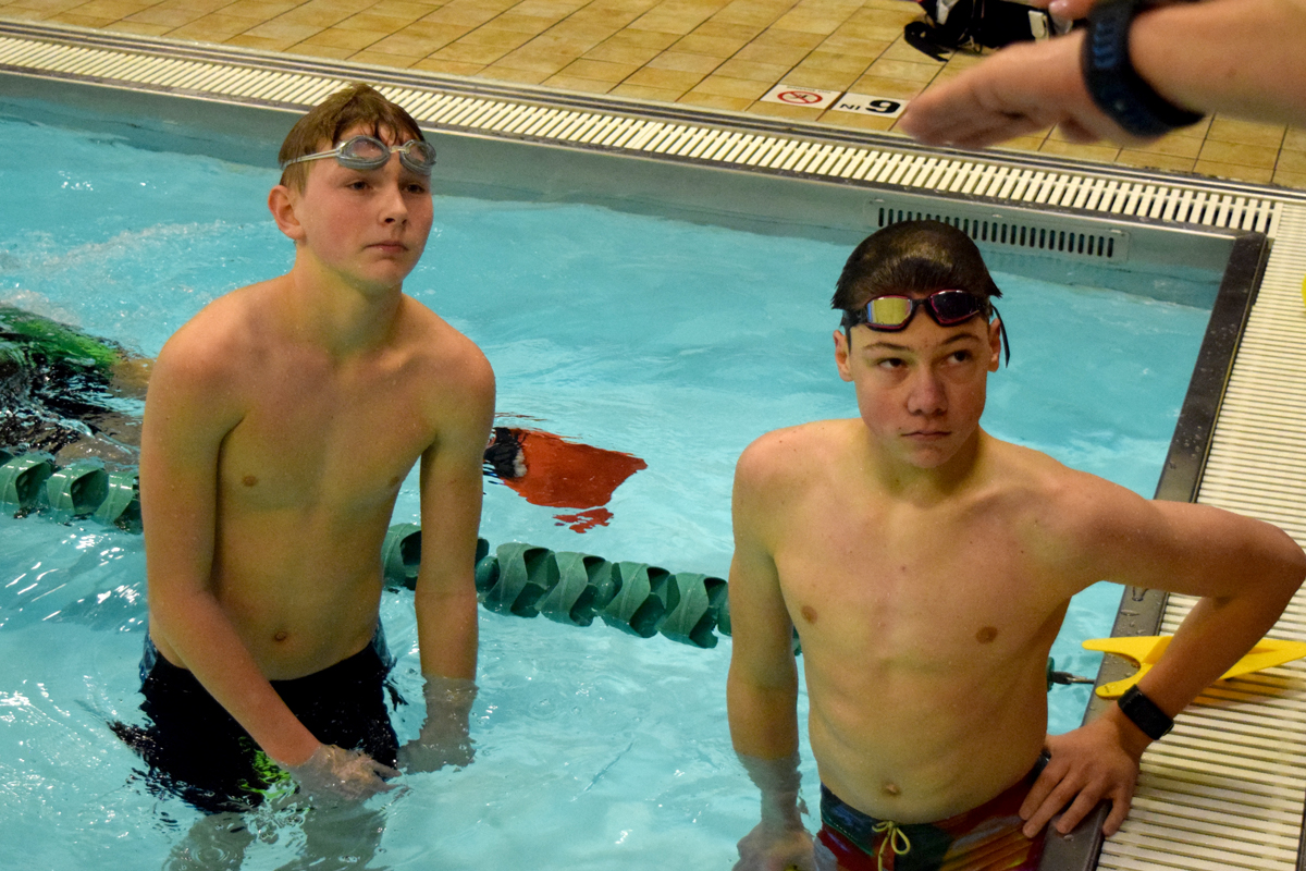Owen Cravens & Jack O'Neil training in the pool.