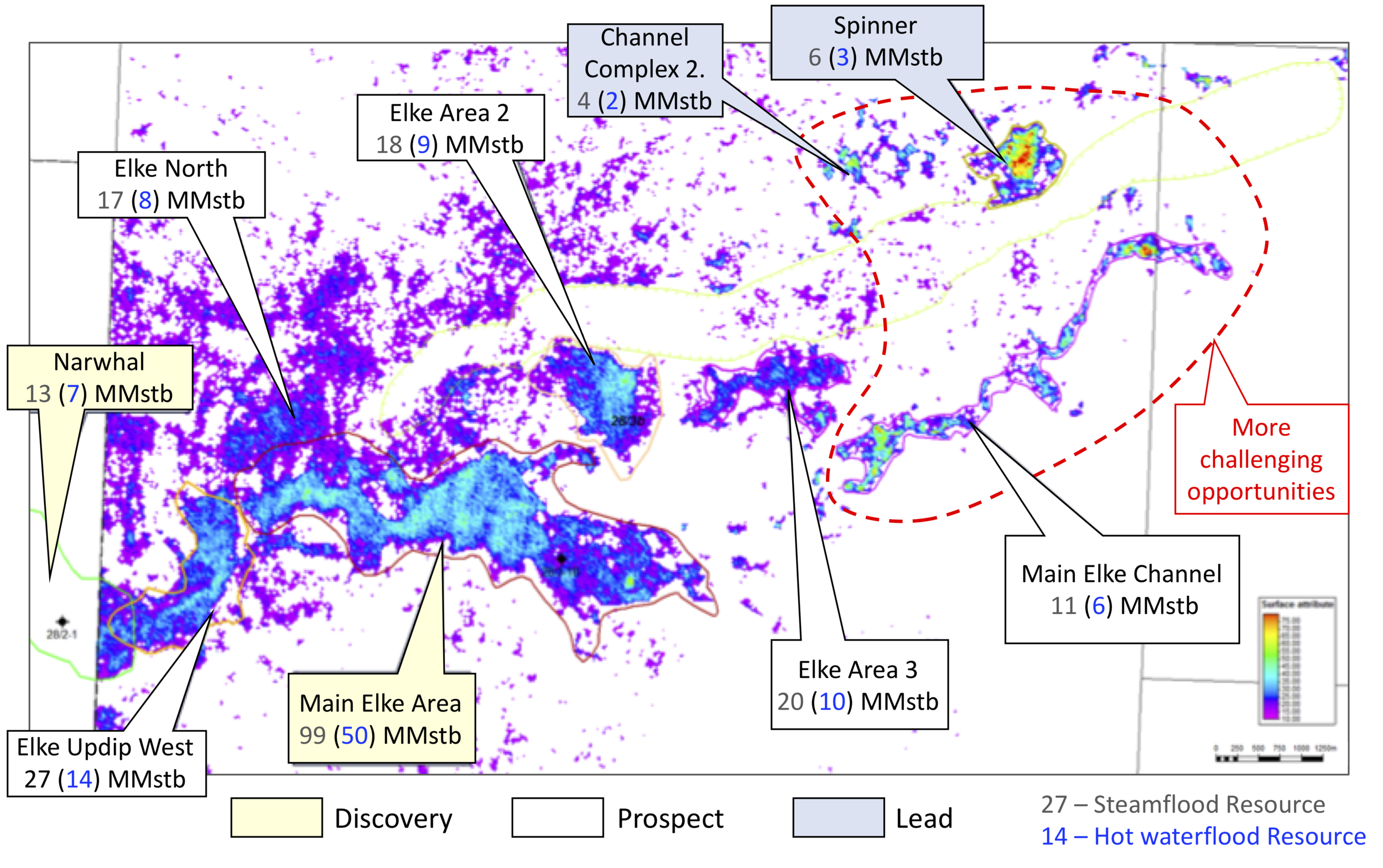 Steamflood and waterflood resources for Elke, Narwhal and Tay sand prospects overlaid on an amplitude map based on TGS seismic