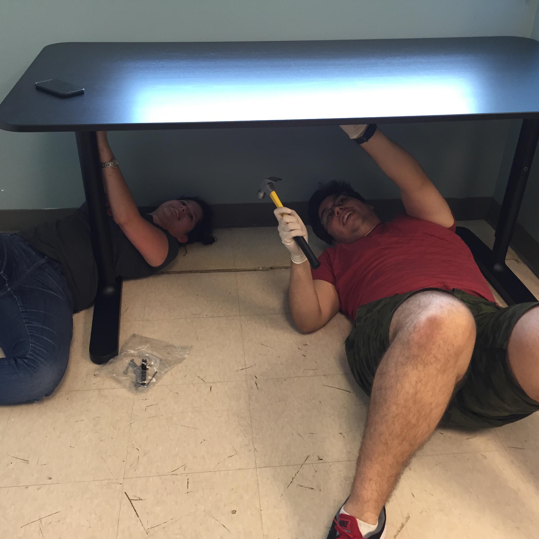 Sheyla and Kevin hard at work
