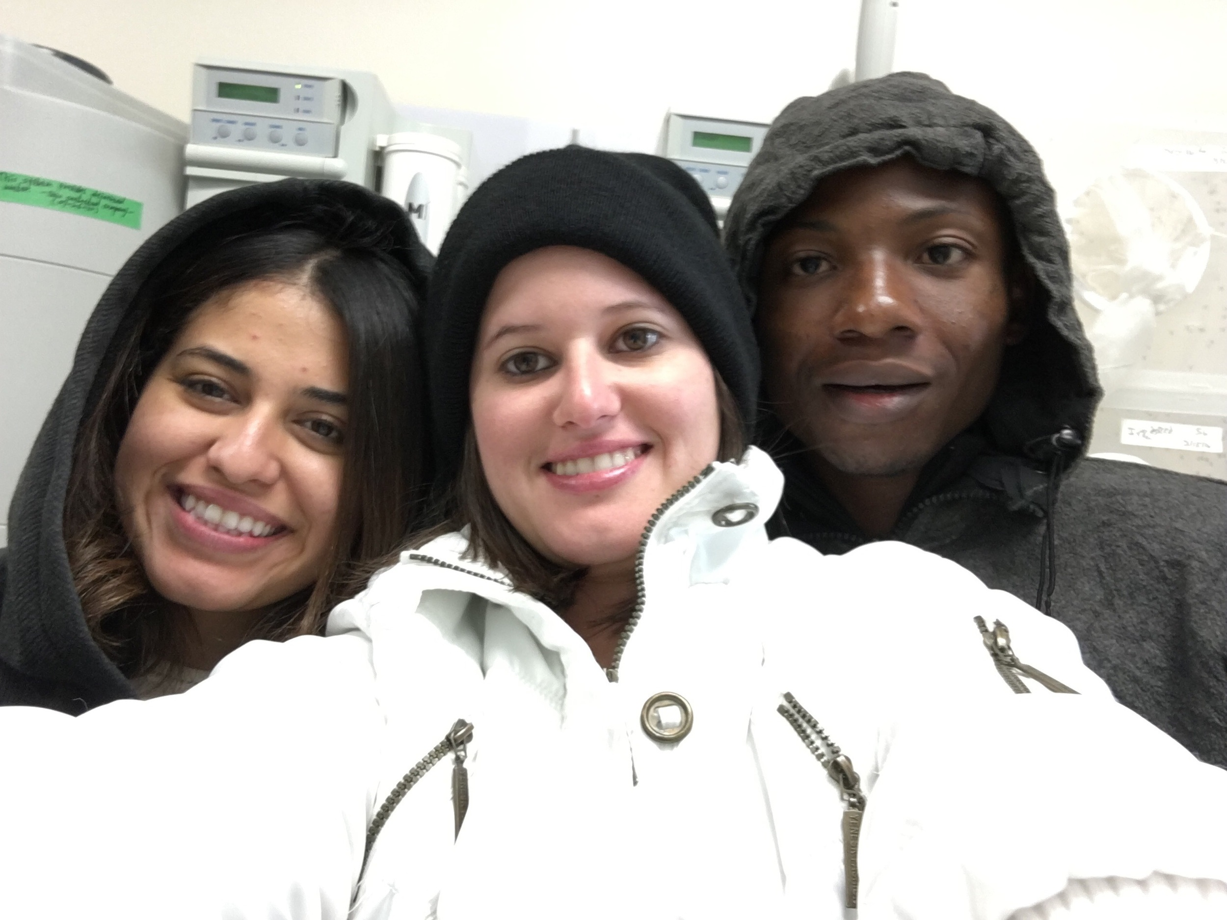 Valeria, Sheyla, and Joshua suit up for some chilly conditions