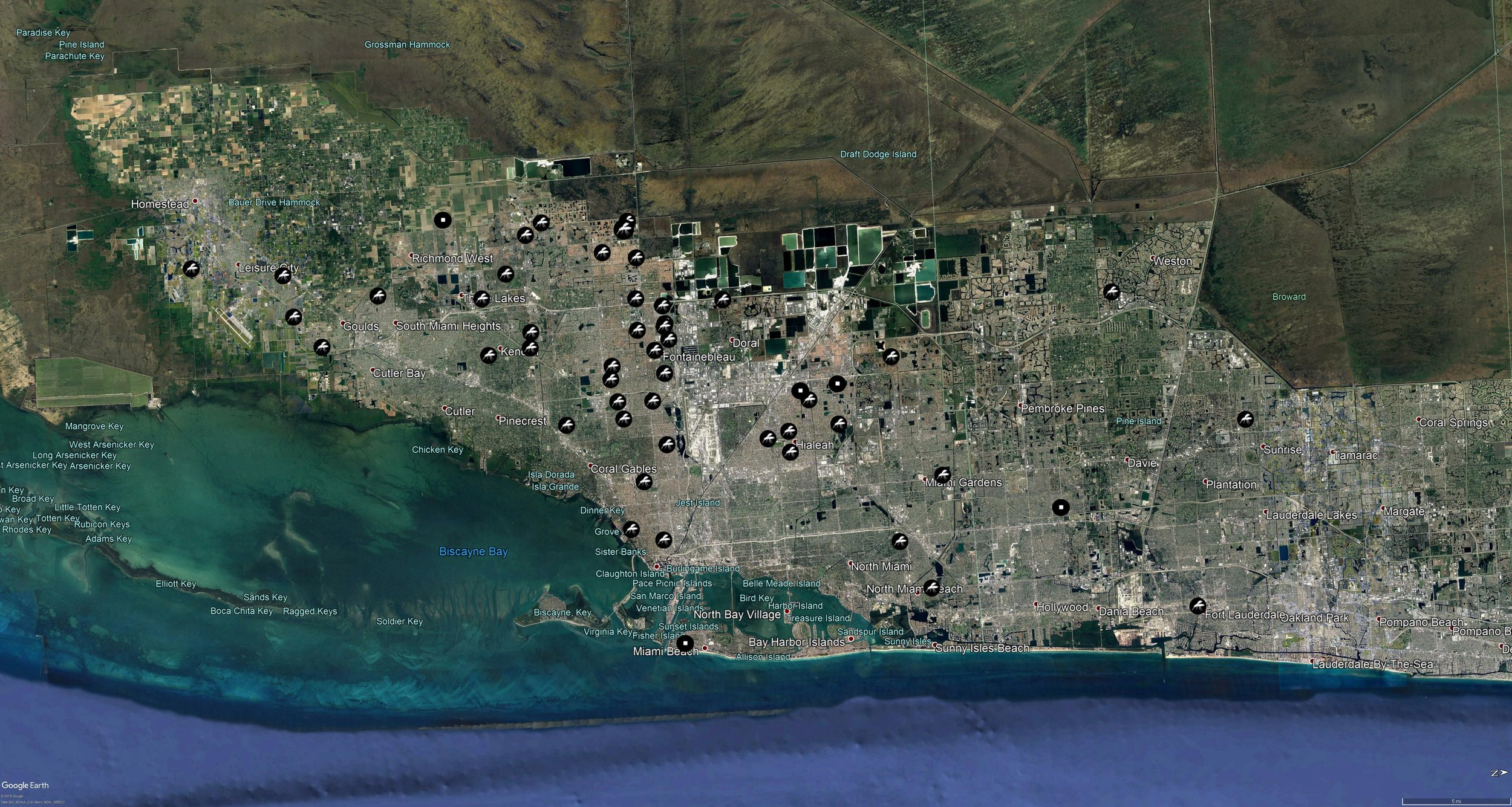 Map of field collection site in South Florida