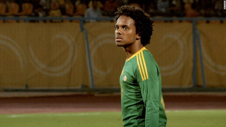 Kermit Erasmus, one of the stars of  Soka Afrika,  playing with South Africa's national team.