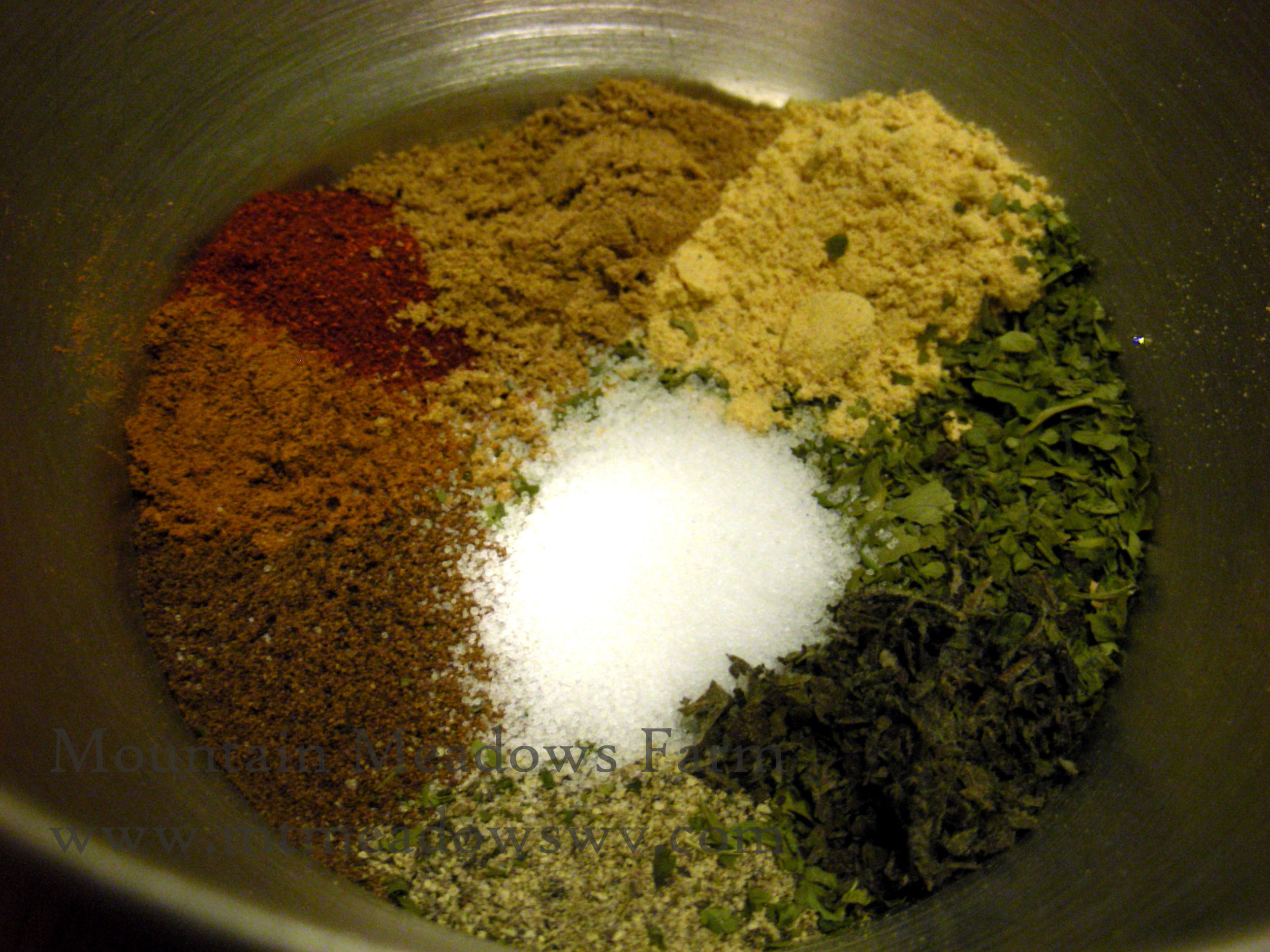 Mix spices with 2 tbsp. olive oil