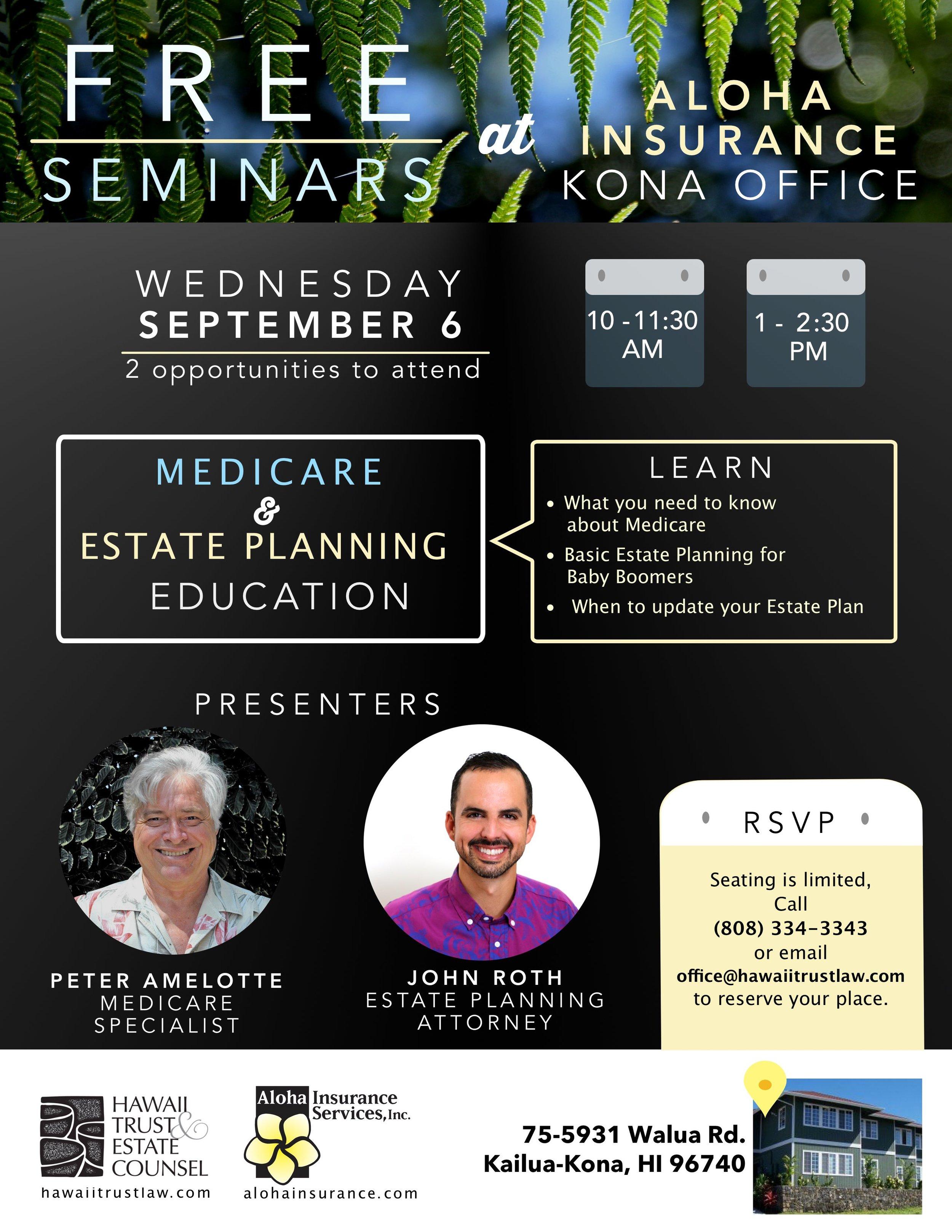 Medicare Estate Planning Seminar Kona