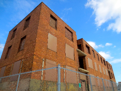 The last extant Jane Addams Homes building at 1322 W. Taylor Street, the site of the future National Public Housing Museum.