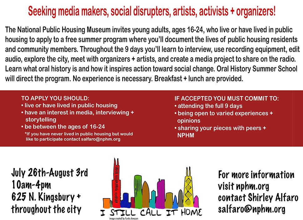 Deadline to apply is July 5th. Acceptance notifications by July 10th.  APPLY NOW      In partnership with  Oral History Summer School.