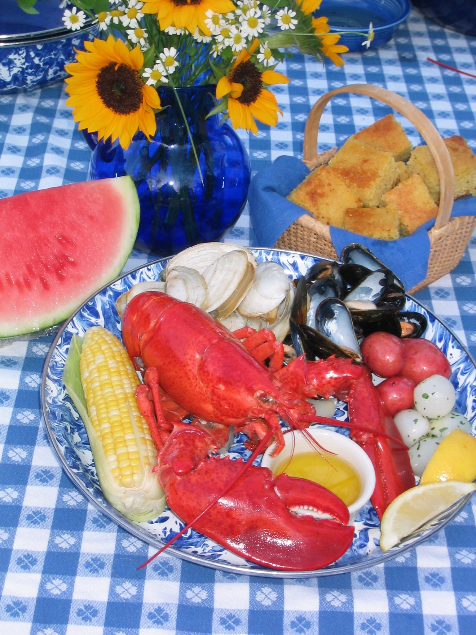 Our classic clambake ready to eat.