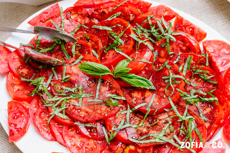 Sliced Farm Tomatoes with Basil and Balsamic Reduction