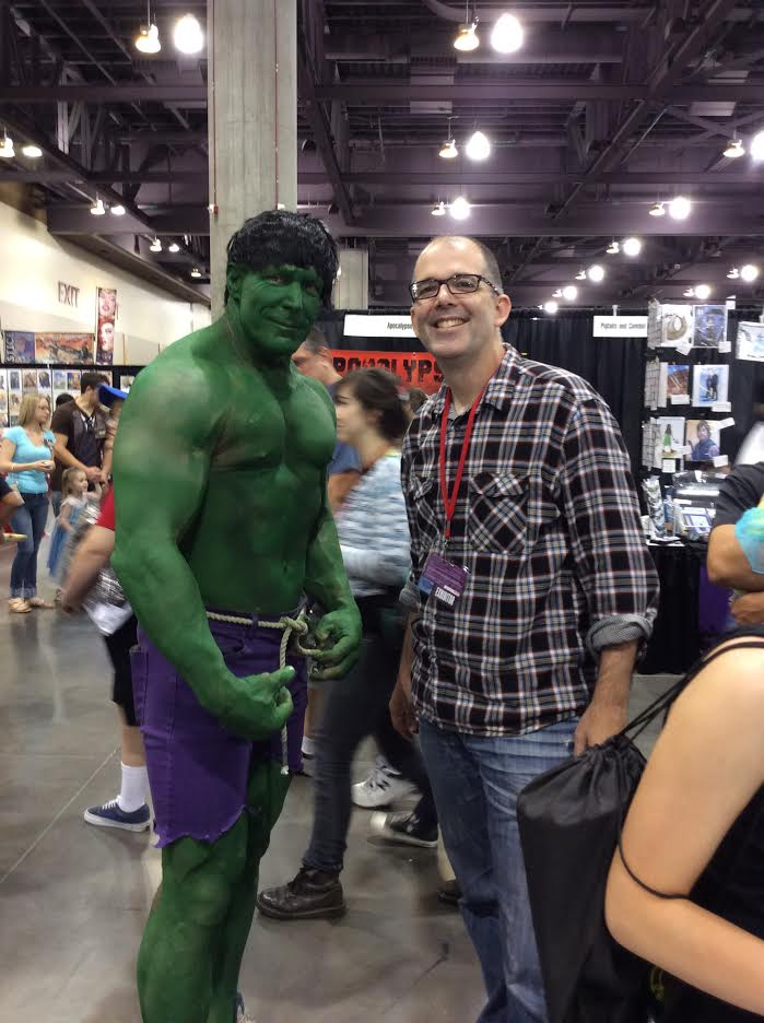 Here I am with with my cousin dressed as The Hulk... I am on the right,  in case anyone thought those were my green biceps.  Easy mistake.