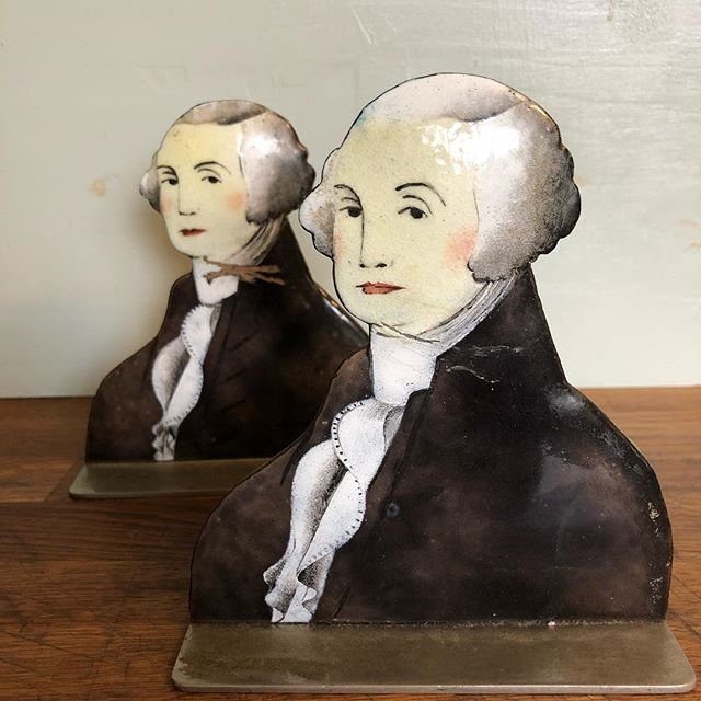 It's gonna take $365 and a box of junior mints (jumbo size) to pry these out of my hands. #what #georgewashington #gw #enamel #handpainted #enamel #whyarethesesogood #bookends #books #book #presidents #george #washington #uspresident #USA #americanrevolution #generalwashington #juniormints