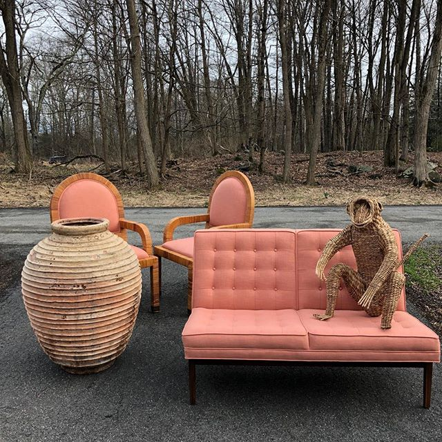 Unloading!  #load #fordtransit #pink #coral #florida #beach #summer #terracotta #wicker #monkey #jensrisom #tufted #color #interiors #home #design #interiordesign #stuff #vintage #decor #apartment