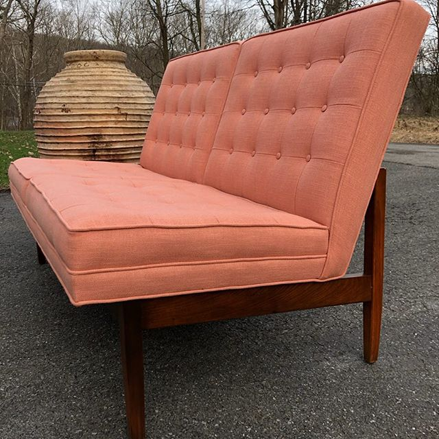 "Jens Risom tufted loveseat. $2350.  48"" wide 17"" seat height 31"" deep 31"" tall  #jensrisom #risom #tufted #lowprofile #mcm #midmod #iconic #pink #blush #linen #lines #coral #peach #buttontufted #upholstery #designer #modern"