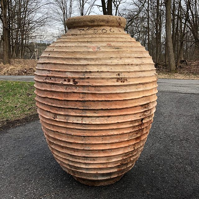 "Massive terra-cotta urn. $700. Measures: Width at mouth 12.75"" Overall height 34"" Approximate diameter at its widest point 27""  #urn #terracotta #clay #jar #massive #monumental #patina #surface #color #earth #form #real #antiques #home #decor"