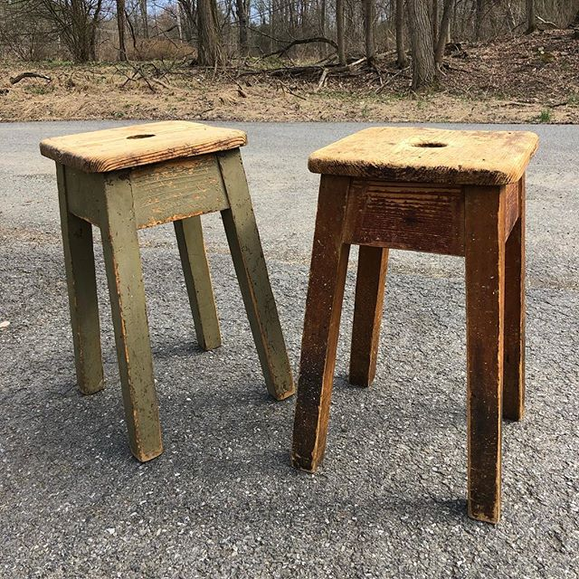 Sweet little assembled pair. $225/pair. #rustic #country #timeworn #distressed #patina #oldpaint #ageanduse #worn #vintage #antique #farmhouse #decor #seating #vintage #home #house #upstateny #woodstock #kingston #ulster
