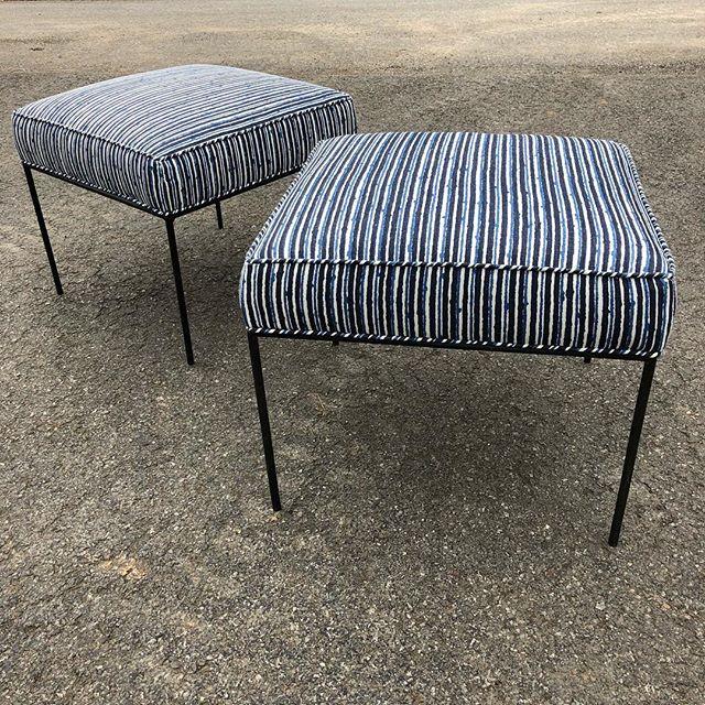 Paul McCobb pair. $750/pair. #paulmccobb #mccobb #stripes #blue #blackandblue #blueandwhite #iconic #design #americandesign #vintagr #mcm #midcentury #modern #20thcenturydesign