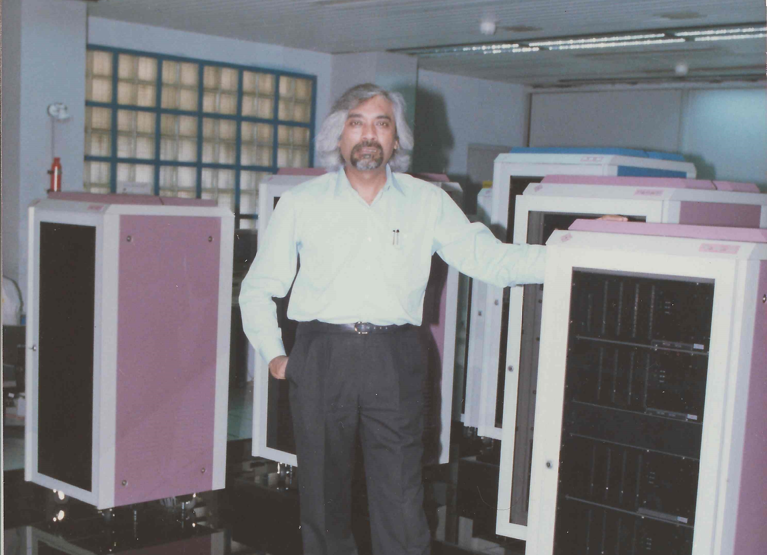 Sam with the first super computer built in India