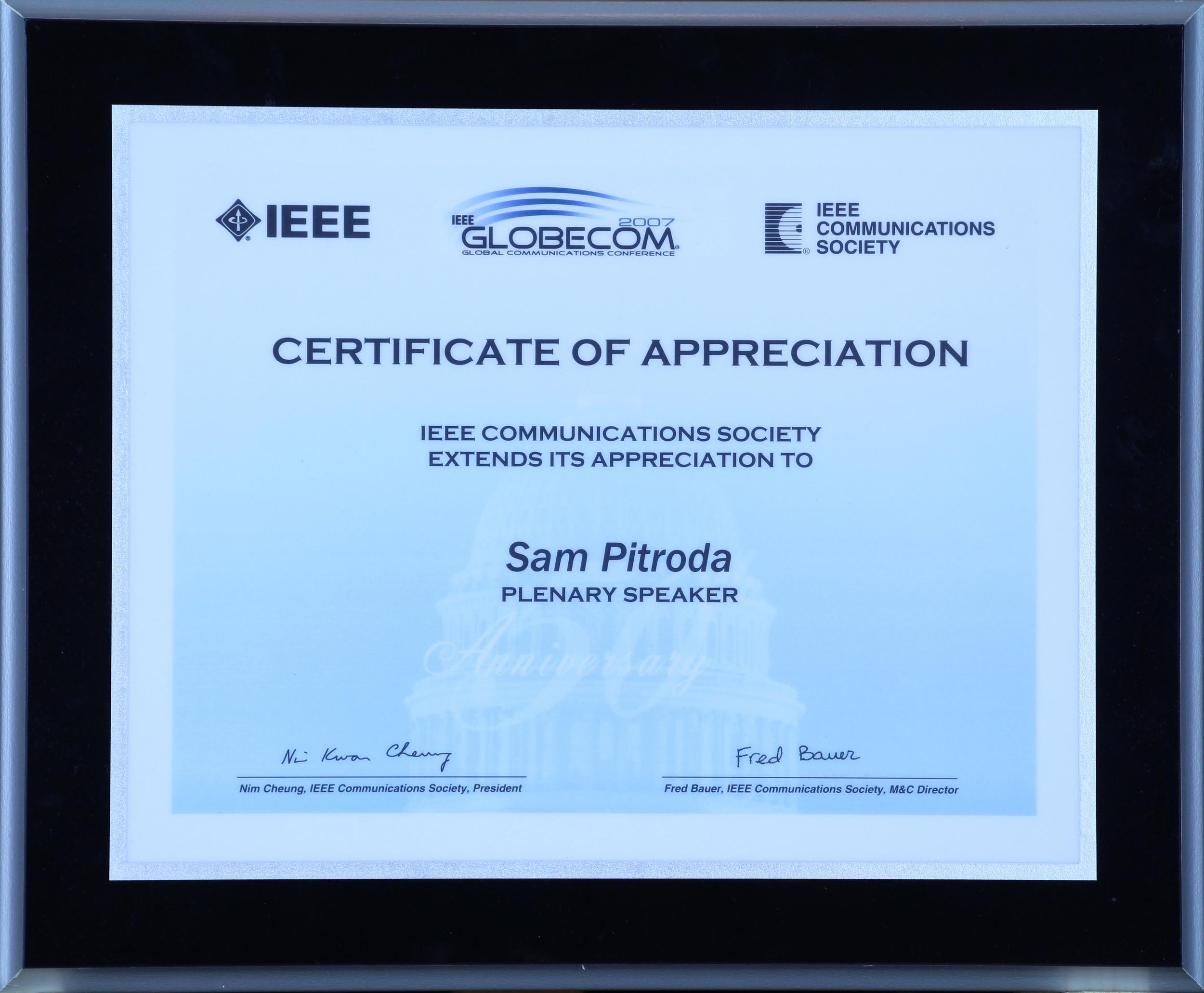 Appreciation Award, IEEE Communications Society