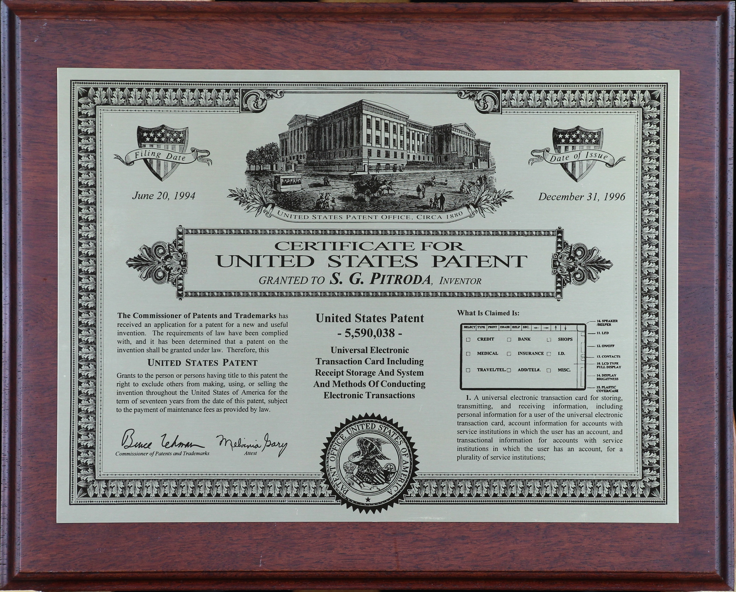 United States Patent–5,590,038–Universal Electronic Transaction Card... - Filling date–June 20 1994, Date of Issue–December 31 1996, United States Patent Office