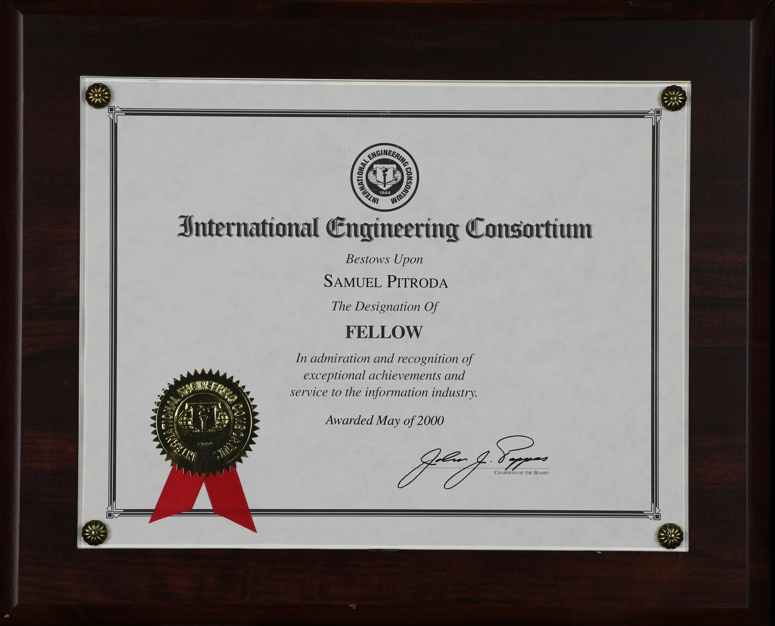 Fellowship Award, International Engineering Consortium, 2000