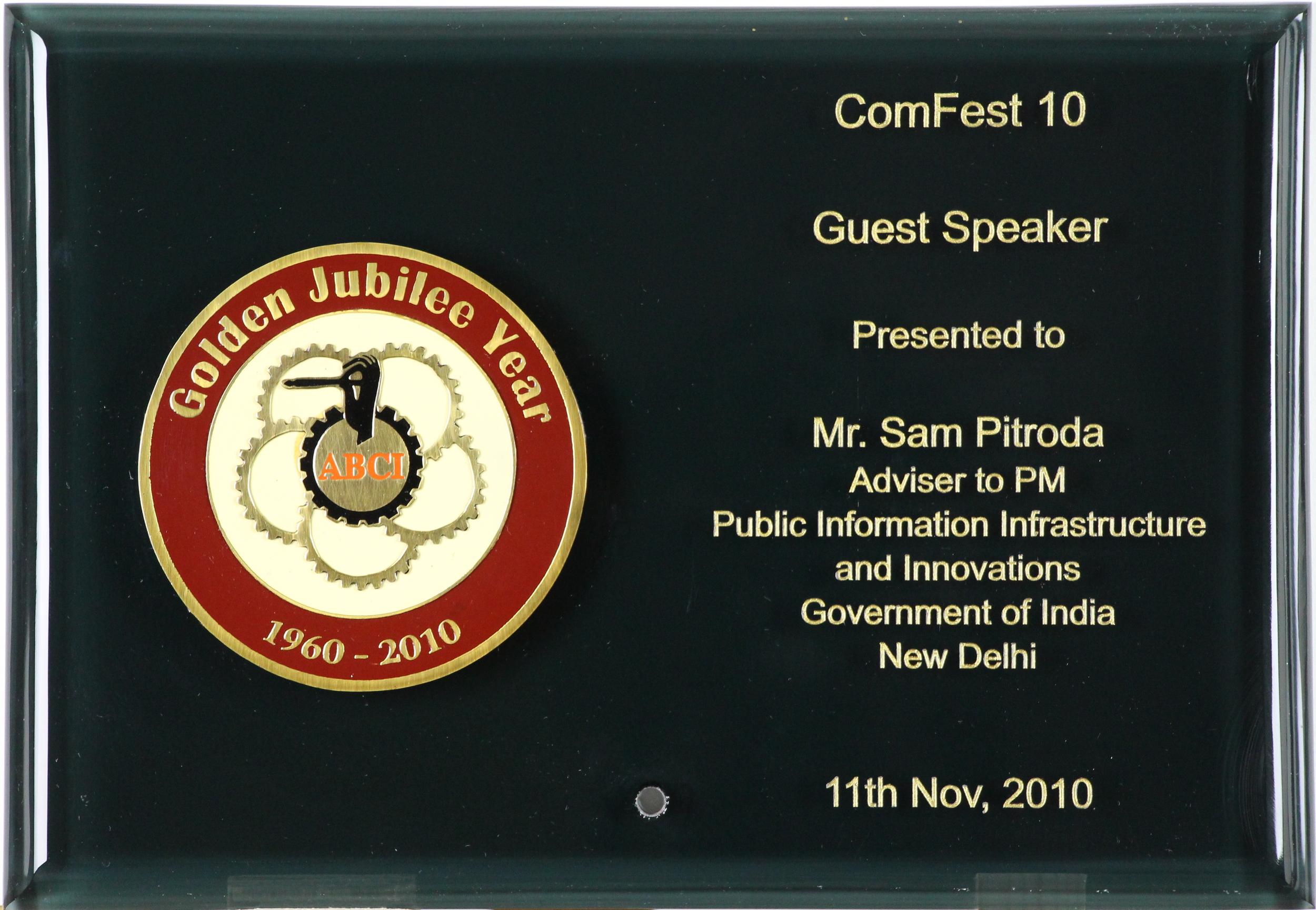 Guest Speaker Award, Golden Jubilee Year, ComFest 10, 2010
