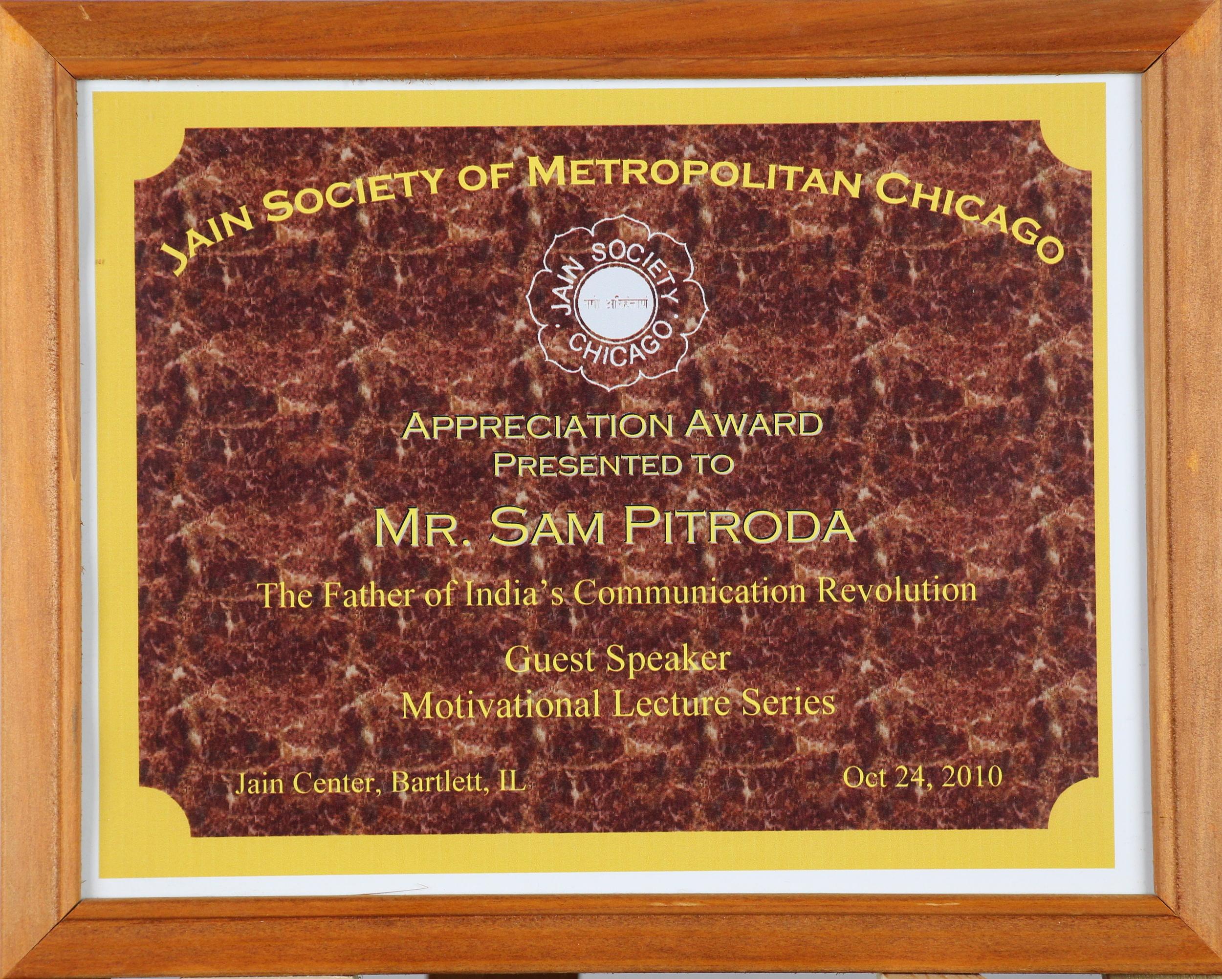 Appreciation Award, Jain Society of Metropolitan Chicago, 2010